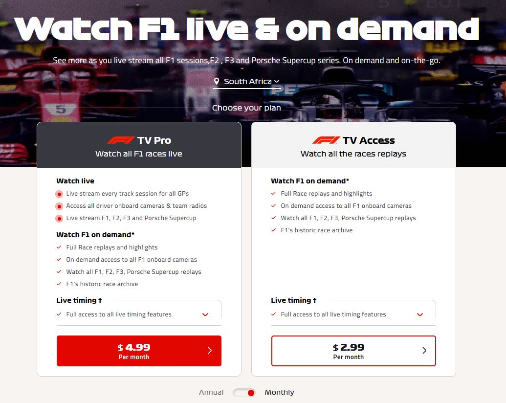 F1 TV South Africa