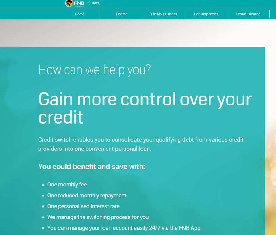 FNB loan consolidation